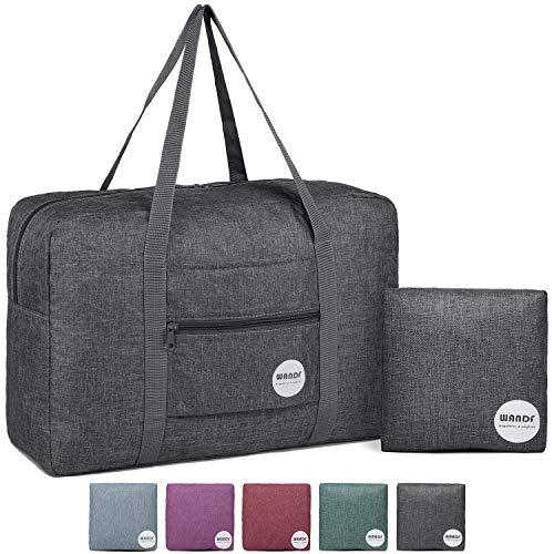 WANDF Foldable Travel Duffel Bag Luggage Sports Gym Water Resistant Nylon (B- Light Grey)