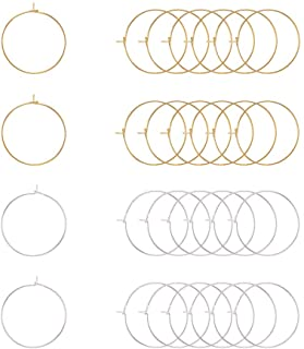 PH PandaHall Elite 100 Pcs 2 Colors 25Mm Brass Round Hoop Earrings Wire Hoops Wine Glass Charm Rings Beading Hoop For Diy ...