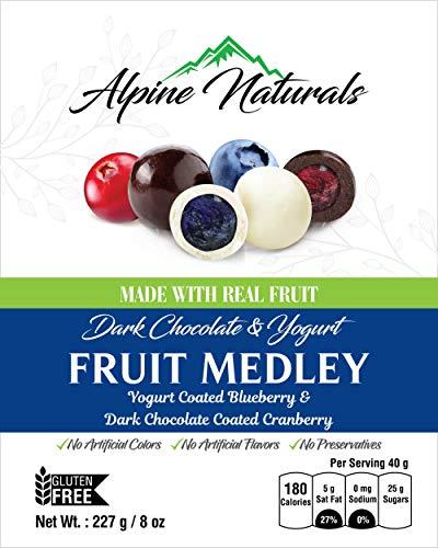 Alpine Naturals Fruit Medley Dark Chocolate Cranberries & Yogurt Blueberries, 8 Ounce