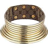 meekoo Afrikanische Halsband Punk Halskette Gotisch Afrikanischen Halsband Klobige Afrikanische Halskette Gold Ton Halsketten für Damen Männer Weihnachten Geburtstag Geschenk