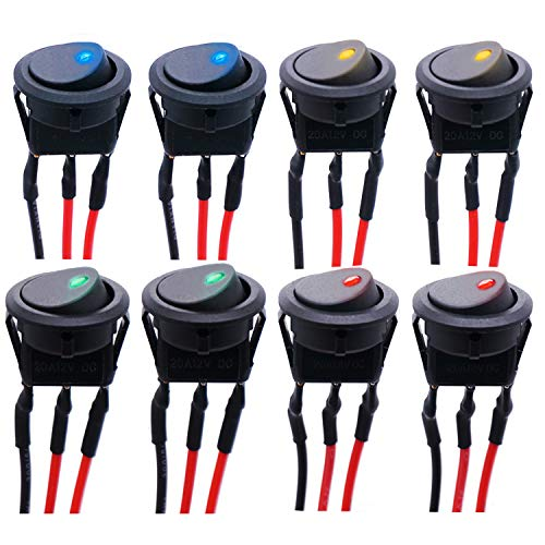 mxuteuk 8 interruptores basculantes SPST de punto redondo para coche o barco, CC 12 V, 20 A, interruptor de encendido/apagado, 4 colores, luz LED con cables presoldados KCD2-102N-4C-X
