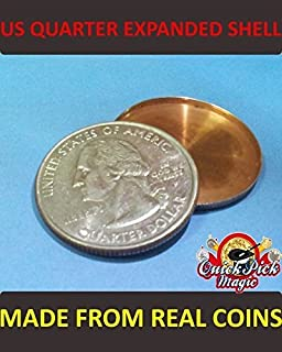 QUICK PICK MAGIC US Quarter EXPANDED Coin Shell / Made from Real Coins! Premium Quality!
