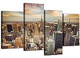 Impresiones en lienzo de Nueva York, de Wallfillers®. Arte decorativo de pared de ciudad de Estados Unidos para tu sala de estar, 4 paneles