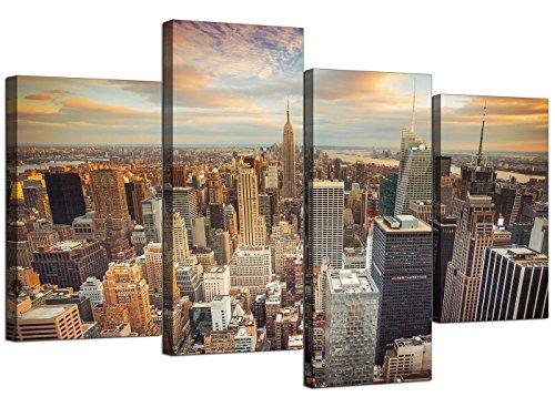 Impresiones en lienzo de Nueva York, de Wallfillers. Arte decorativo de pared de ciudad de Estados Unidos para tu sala de estar, 4 paneles