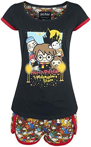 Harry Potter Chibi Allover Femme Pyjama Multicolore L, 100% Coton,