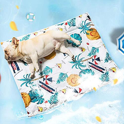 RYSB Hundebett,Ice Pad Cool Matte Sommer Gel Bite Resistant Hund Eismatte,Abkühlen Pet Cool Matte A 116x76cm(46x30inch)