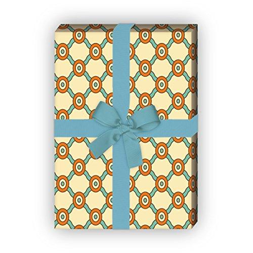 Kartenkaufrausch Designer ruiten cadeaupapierset, decoratiepapier, patroonpapier om in retro stijl, oranje, als edele geschenkverpakking, designpapier, scrapbooking, 4 vellen, 32 x 48 cm