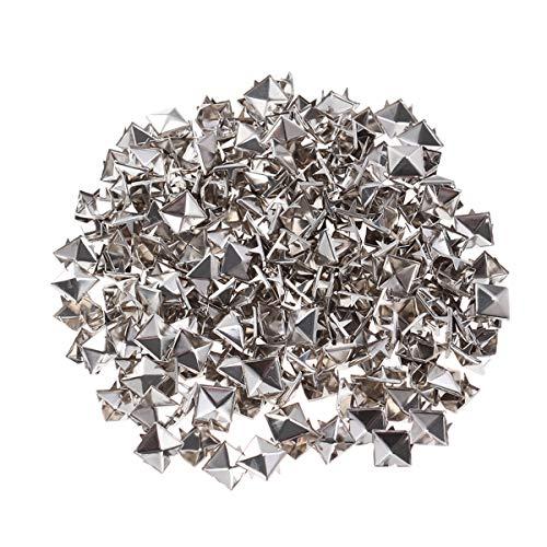 SUPVOX - 200 remaches punk cuadrados de acero con puntas, para manualidades, zapatos, cinturones, ropa, decoración (plata)
