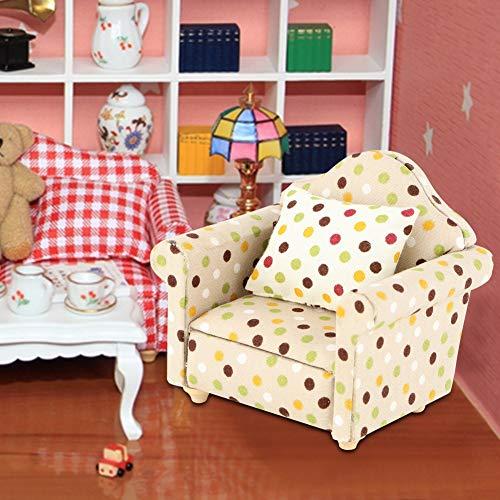 Jinyi Muebles de casa de muñecas, accesorios de casa de muñecas de muebles en miniatura, sofá de casa de muñecas de muebles, bricolaje para casa de muñecas(White flower dots)