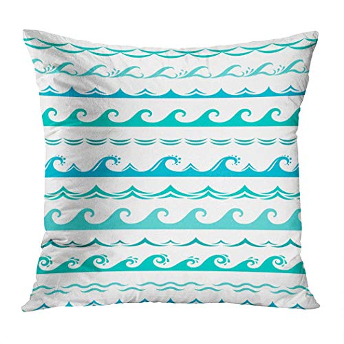 Yaxinduobao Bed Pillows Loft Pillow 18 x 18 inches Sea Wave Borders Seamless Ocean Storm Polyester Soft Square for Couch Sofa Bedroom