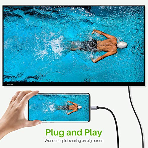 USB C auf HDMI Kabel (4K@60Hz), ROOROO HDMI Kabel Adapter 2Meter, [Thunderbolt 3 Kompatible] für Samsung S20/ Note 10, MacBook Pro 2020/2019, MacBook Air/iPad Pro 2020, Surface Book 2 usw.