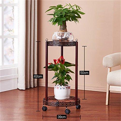 QFF Porte-fleurs en fer Couches multiples Style de sol Ensemble de pot de fleur de balcon Ensemble de radis vert Ensemble de fleurs de salon de style européen ( Couleur : Bronze , taille : B )