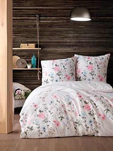 ZIRVEHOME Bettwäsche 240x220 cm. 3 teilig Set, geblümt,100prozent Baumwolle/Renforcé, Verdeckter Reißverschluss, Atmungsaktiver, Bettbezug Set mit Kissenbezug 80x80. Palitra V1