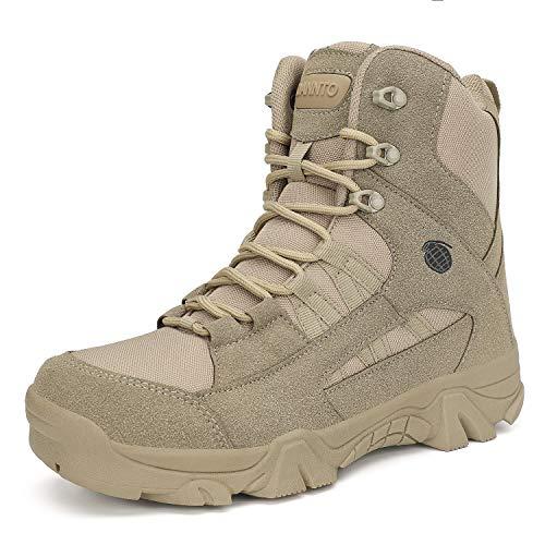 Dannto Herren Military Stiefel Tactical Arbeit Stiefel Army Stiefel Wanderstiefel Trekkingstiefel Atmungsaktive für Outdoor Camping Wandern Bergsteigen Wüsten Offroad Angeln Jagen (Hellbraun,44)
