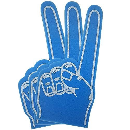 FUN FAN LINE-Schaumstoff-HandgerätmitFingerfürPartysundSportanimation.AnimationshandschuhefürKinderundErwachsene,einfarbig(22cmx40cm) (Blau, 3 Einheiten)
