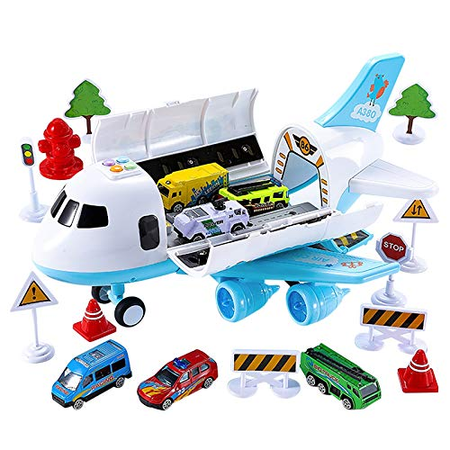 Mingbai Trucks Car Airplane Toys Fire Fighting Set Transport Cargo Vehicle, Educational Toy Electronic Large Aircraft with Trucks & Road Barriers, Educational Vehicles Construction Toys (Blue)