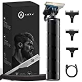 Arkam Beard Trimmer For Men - Cordless, Water-Resistant Hair Grooming Kit For Head, Face & Body w/ 3 Attachments, Straight Razor & Brush - Fast Charging Electric Manscape Clippers w/Extended Battery