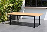 Amazonia Bowery Rectangular Patio Garden Dining Table   Extendable and Teak Finish   Durable and Ideal for Outdoors, Black