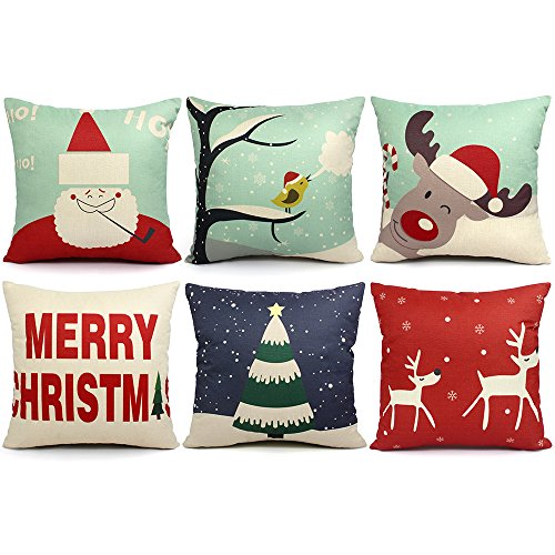 ORWINE 6 Packs Christmas Pillows Covers 18x18 Christmas Decorations Pillows Covers Merry Christmas Decorative Throw Pillows Cases Sofa Indoor Home Décor Deer Santa Claus Christmas Tree