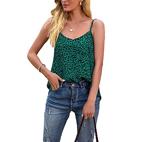 Primavera Y Verano Mujer Casual Moda con Cuello En V Estampado De Leopardo Suelta Sin Mangas Camiseta Camisola Top Mujer