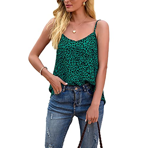 FrüHling Und Sommer Damen Casual Fashion V-Ausschnitt Leopard Print Lose äRmelloses Leibchen T-Shirt Top Damen