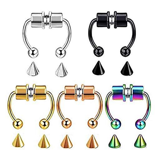 LUDAXUE 5PCS Reusable Fashion Nose Ring Magnetic Septum Nose Ring Hoop Horseshoe Rings Fake Nose Ring Hoop Magnetic Horseshoe Rings Non-Piercing Clip On Nose Hoop Rings