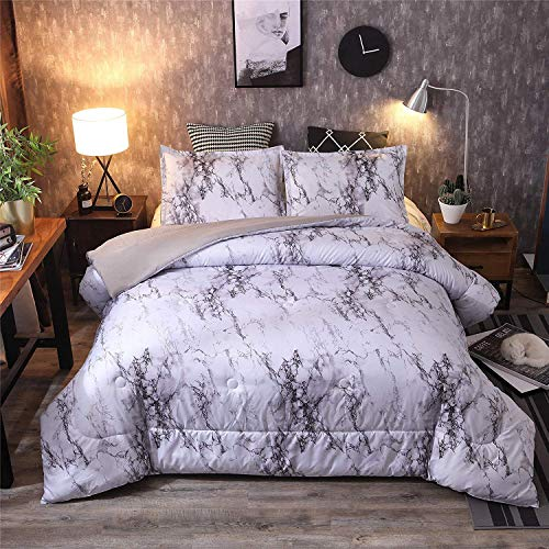 A Nice Night Closure-Printed Marble Ultra Soft Comfor   ter Set Bed-in-a-Bag,Queen (White-Marble)