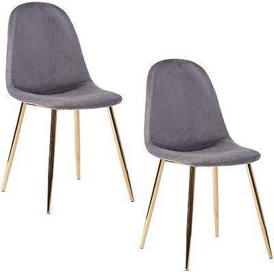 MEUBLE COSY Lot de 2 Chaises de Style Scandinave avec une Assise et Dossier recouverts de Décor de Velours Gris, des Pieds en Métal avec Finiton en coloris Or