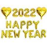 Xidmold 16 Zoll 2022 Ballons Silvesterdeko, 2020 Happy New Year Luftballons, Buchstaben Zahlen Folienballon Zahlenballon, Jahreswechsel Neujahr Silvester Party Ballon Decoration (Gold, 2022)
