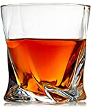 Venero Crystal Whiskey Glasses, Set of 4 Rocks Glasses in Gift Box - Lowball Bar Glasses for Drinking Bourbon, Scotch Whisky, Cocktails, Cognac - Old Fashioned Cocktail Tumblers