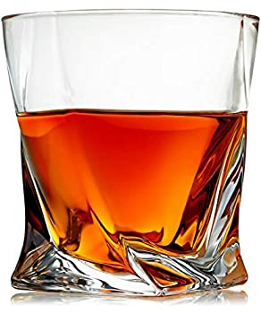 Venero Crystal Whiskey Glasses Set of 4 Rocks Glasses in Gift Box - Lowball Bar Glasses for Drinking Bourbon Scotch Whisky Cocktails Cognac - Old Fashioned Cocktail Tumblers