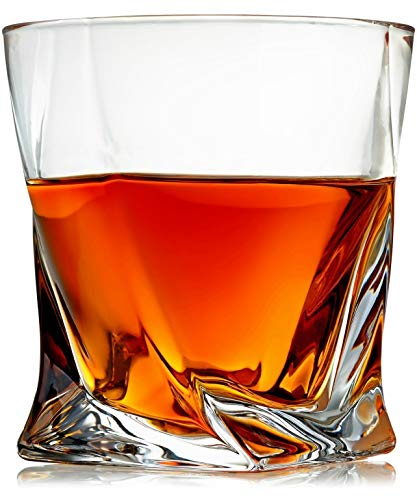 Venero Crystal Whiskey Glasses, Set of 4 Rocks Glasses in Satin-Lined Gift Box - Old Fashioned Lowball Bar Tumblers for Drinking Bourbon, Scotch Whisky, Cocktails, Cognac