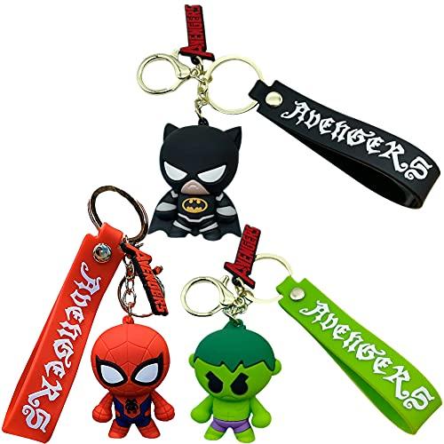 3pcs Llavero Super heroe, Hilloly Llavero de Spiderman, Llavero de Dibujos Animados Llavero Creativo Llave Decoración Bolsa Colgante Llavero de Coche Superhéroe Llavero Modelo de Decoración