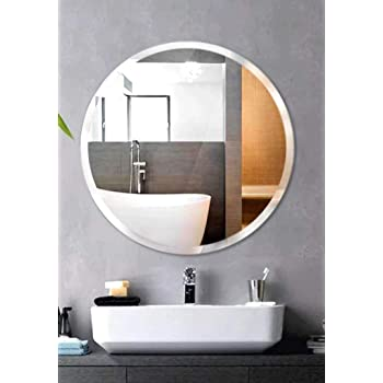 SEVEN HORSES Steel Glass Wall Mirror (18 x 18 inch, Silver)