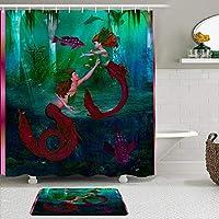 MIMUTI シャワーカーテン バスマット 2点セット メロウマーメイド水中世界 自家 寮用 ホテル 間仕切り 浴室 バスルーム 風呂カーテン 足ふきマット 遮光 防水 おしゃれ 12個リング付き