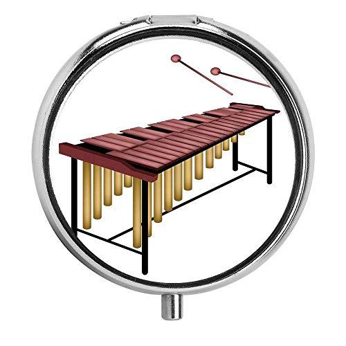 Illustration eines Schlaginstruments mit hölzernen Stäben Beaters Pillenetui Round Pill Box