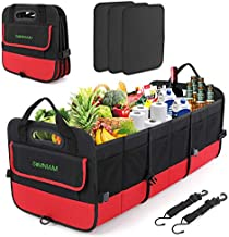 Simniam EXCLUSIVE EXTRAS LARGE Car Trunk Organizer, Folding Compartments Cargo Storage Box, Securing Straps, Tidy Auto Organization & Boot Maintenance, Trunk Organizer for auto, SUV, Truck, Minivan