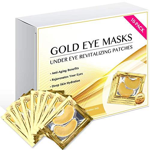 24K Gold Eye Mask/Anti-aging Hyaluronic Acid Eye Patches/Gold Collagen Eye Strips for Anti Wrinkle Tissue Rejuvenation/Spa Quality/Gold Eye Pads / 10-Pack