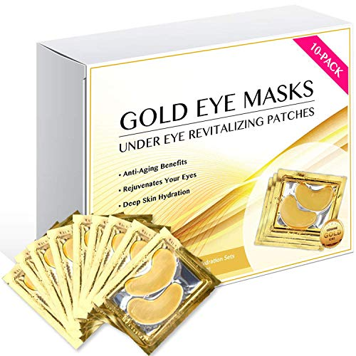 24K Gold Eye Mask/Anti-aging Hyaluronic Acid Eye Patches/Gold Collagen Eye Strips for Anti Wrinkle Tissue Rejuvenation/Spa Quality/Gold Eye Pads / 10-Pack