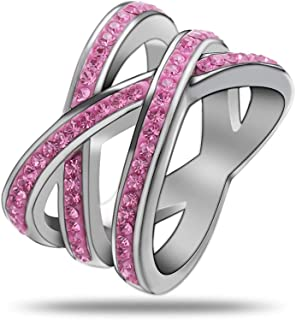 Silver Tone Cubic Zirconia X Criss Cross Wedding Ring Stainless Steel Wide Knuckle Infinity Trendy Eternity Engagement Pro...