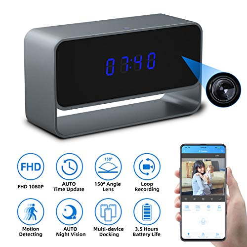 Learn More About Spy Camera Clock, Monja Hidden Camera Clock, 1080p WiFi Cameras for Home, 150° Ang...