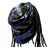 Predator Motorcycle Helmet – DOT Approved – Custom Made, Fibreglass, Unisex for Powersports, Sports, and Outdoor - Blue Abyss