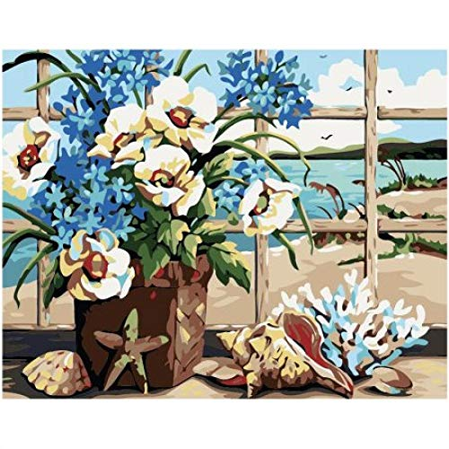 SHILLPS According to Digital Painting Kit Grill Flower Shell DIY Oil Painting by Numbers DIY Digital Oil Painting On Canvas Home Decor No Frame