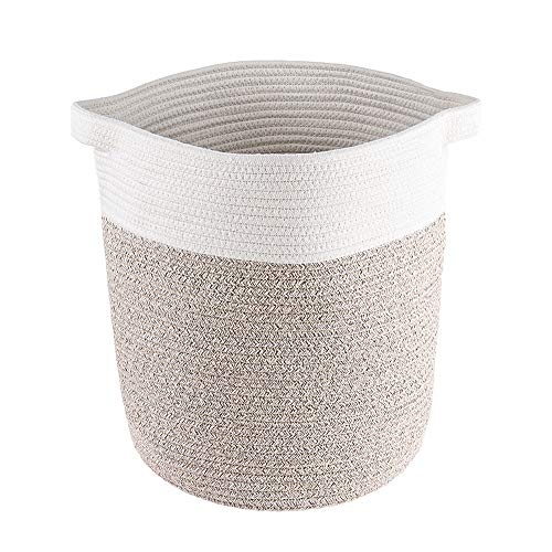 Lyricalife Woven Storage Basket, Large Pure Cotton Organizer 16x15x15inches, Tall Laundry Hamper with Generously Sized Handles, Kids Toy Nursery Laundry Basket