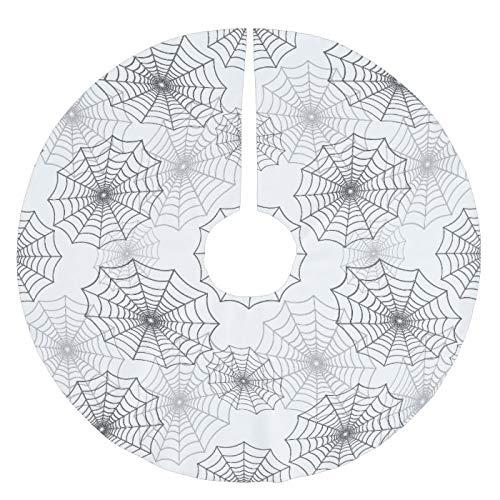 JamirtyRoy1 Christmas Ornament, Black Spider Web Cobweb Silk Pattern on Dark White Brushed Polyester Tree Skirt, Xmas Tree Hanging Decorations, Home Decor, Keepsake Gift, 3 Inch Snowflake Ornament