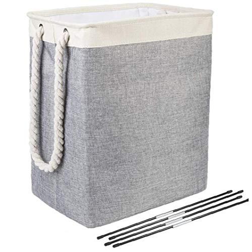 Plegable de la Cesta de lavadero de algodón de Lino Cesto Bin con Asas para Dormitorio Baño Lavandería (Beige + Gris)