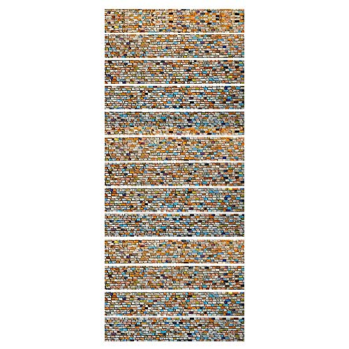 ZDDBD 3D Stair Stickers Wall Stair Stickers For Home Decor, Waterproof Stairs Mural, Decals Peel For Stair Decor Stair Stickers Mural Wallpaper 18 * 100Cm * 13Pcs- Mosaic-Color