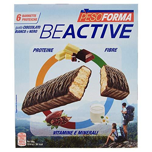 Pesoforma Beactive Cioccolato Bianco e Nero- Snack Proteico Sport - 6 barrette proteiche - 112 Kcal