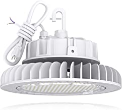 HYPERLITE White LED UFO High Bay Lights 250W 5000K Coollight 33,750lm 1-10V Dimmable 5' Cable with 110V Plug Hanging Hook Safe Rope UL/DLC Approved for Shopping Mall Stadium Exhibition Hall