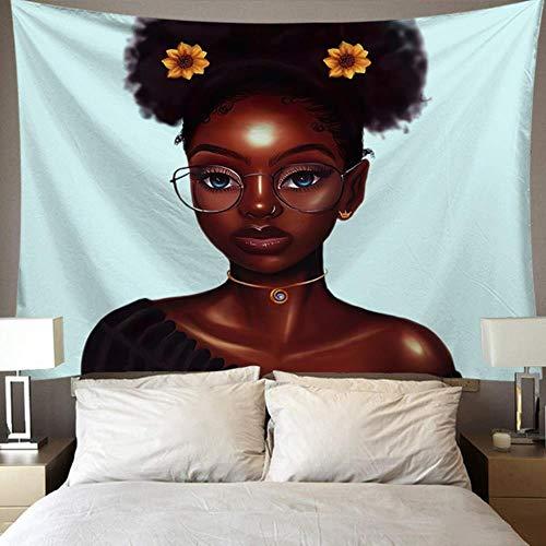 Tapiz de fondo de tela nórdica de mujer africana, 95 x 73 cm, 230 x 180 cm, 6 tamaños
